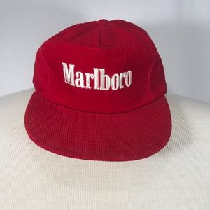 Men's Red Marlboro Snapback Adjustable BaseballCap